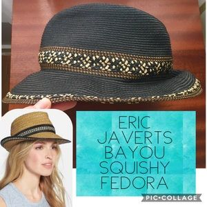 Eric Javerts UPF Packable Fedora Black Patterned